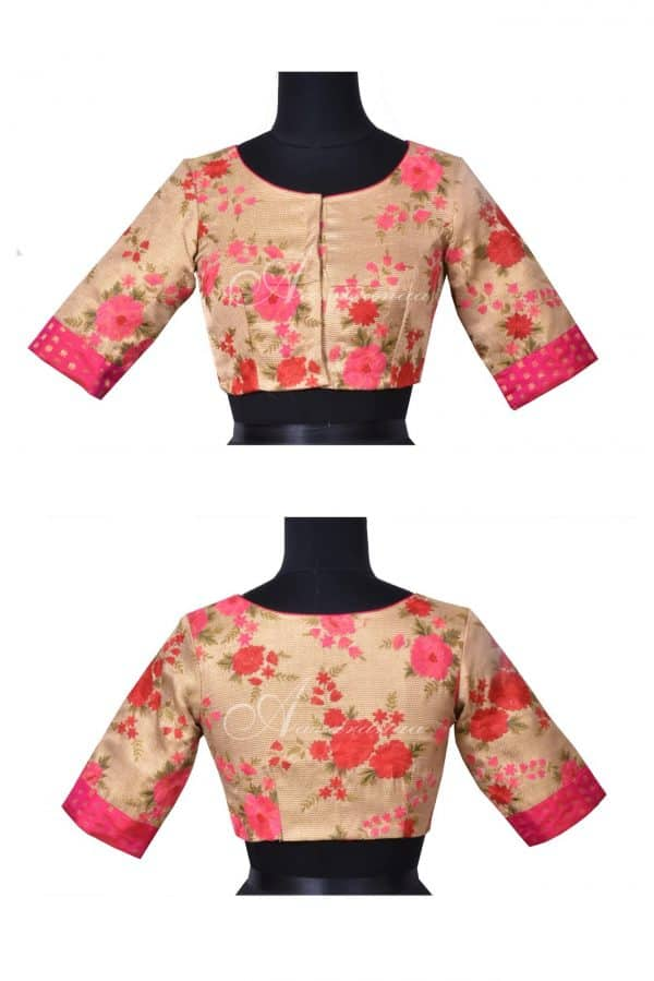 Gold jute silk blouse rose embroidery-0
