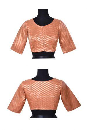 Pale orange brocade blouse-0