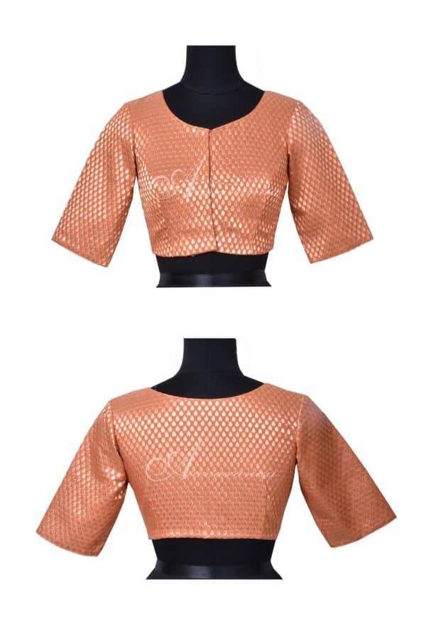 Pale orange brocade blouse-0