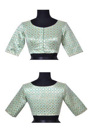 Pale green brocade blouse-0