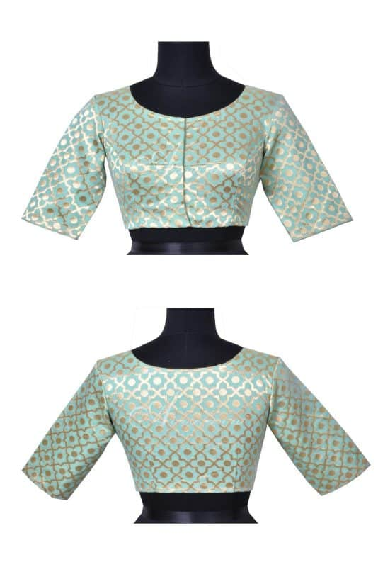 Pale green brocade blouse-0