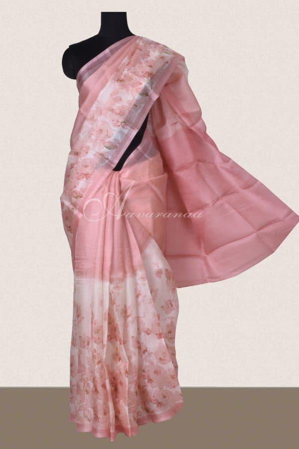 Peach half and half organza saree-0