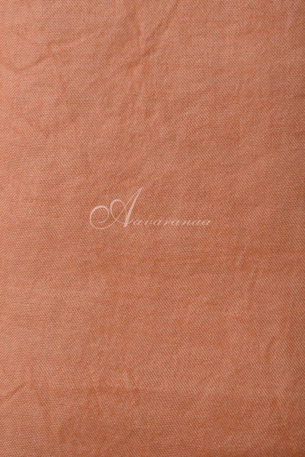 Peach block print organza saree-15619