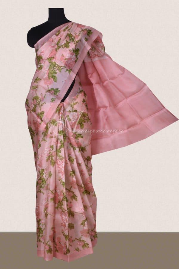 Light pink green floral block print organza saree-0