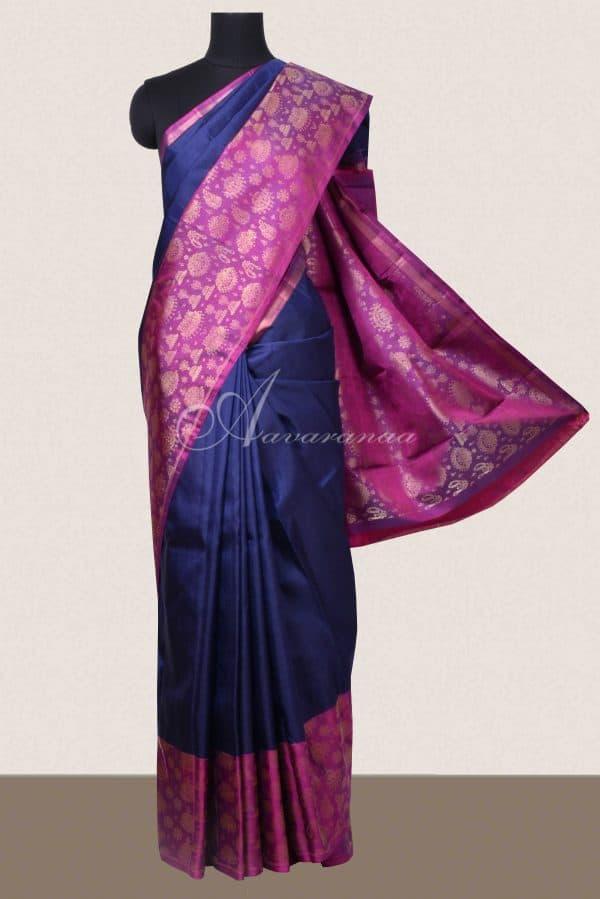 Navy blue kancheepuram silk with pink jhumki border-0