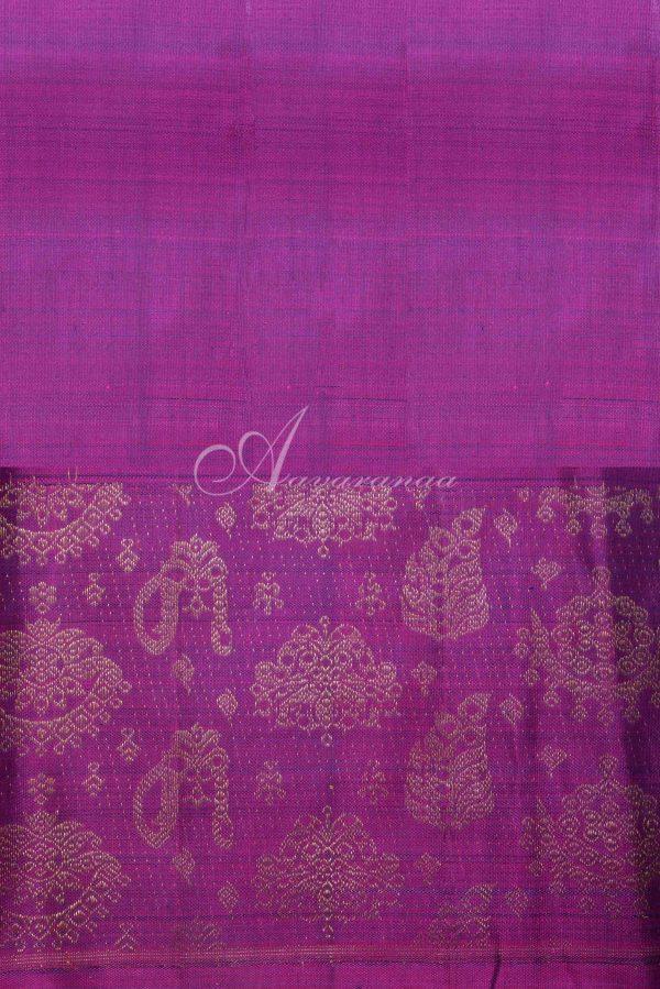 Navy blue kancheepuram silk with pink jhumki border-15997