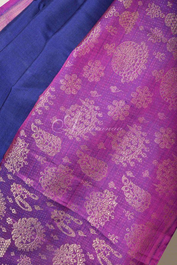Navy blue kancheepuram silk with pink jhumki border-15995