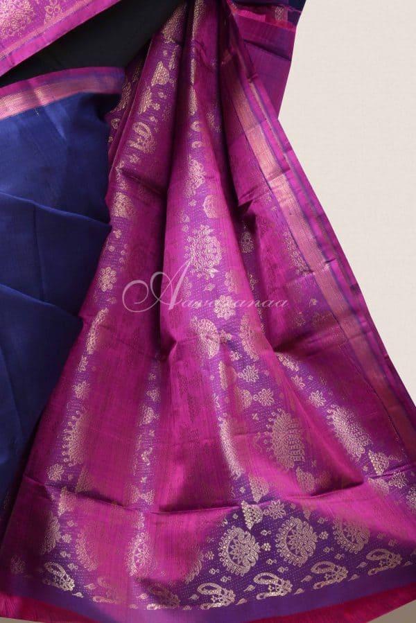 Navy blue kancheepuram silk with pink jhumki border-15996