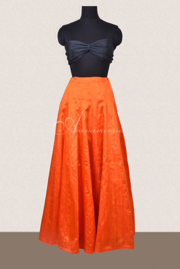 Bright orange raw silk skirt-0