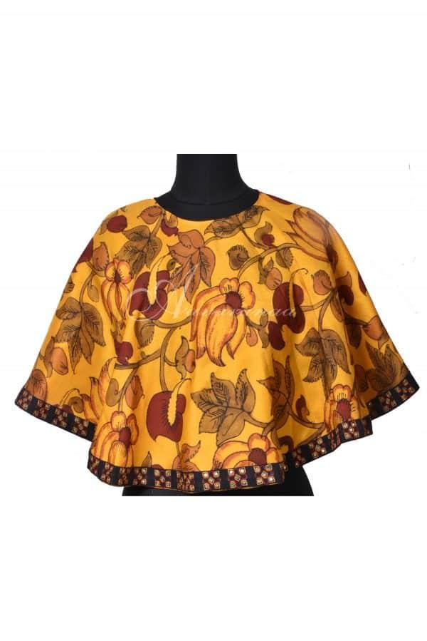 Mustard kalamkari silk cape-0