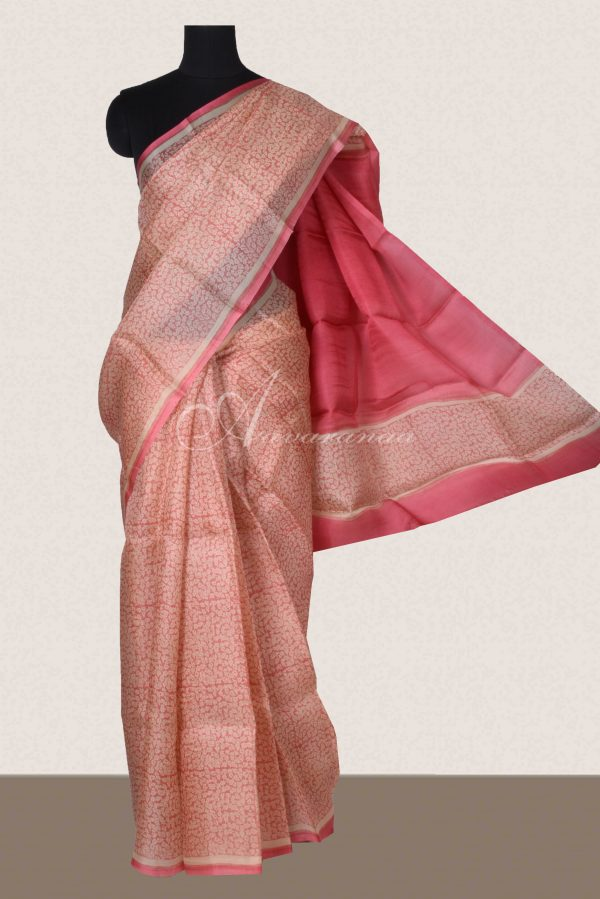 Pink beige block print organza saree-0