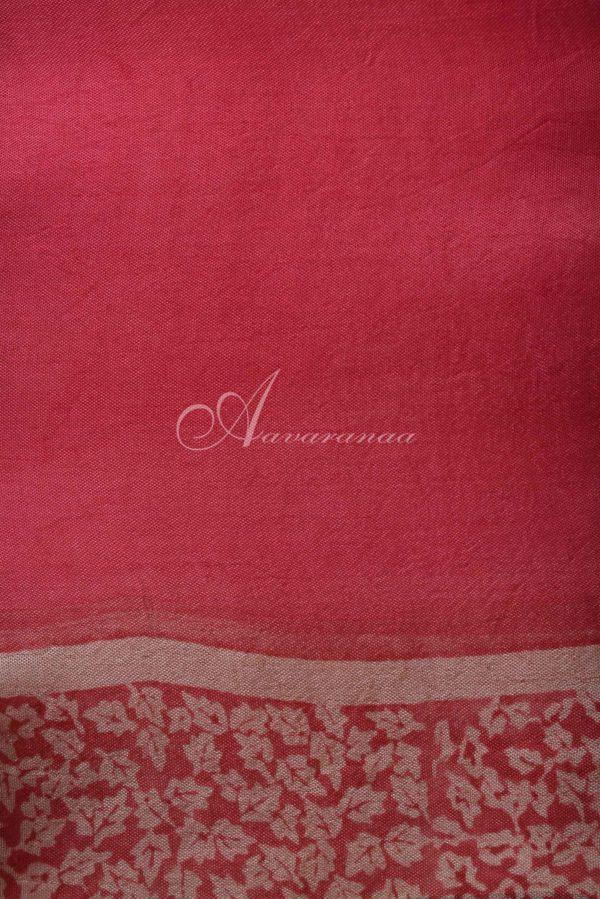 Pink beige block print organza saree-15622