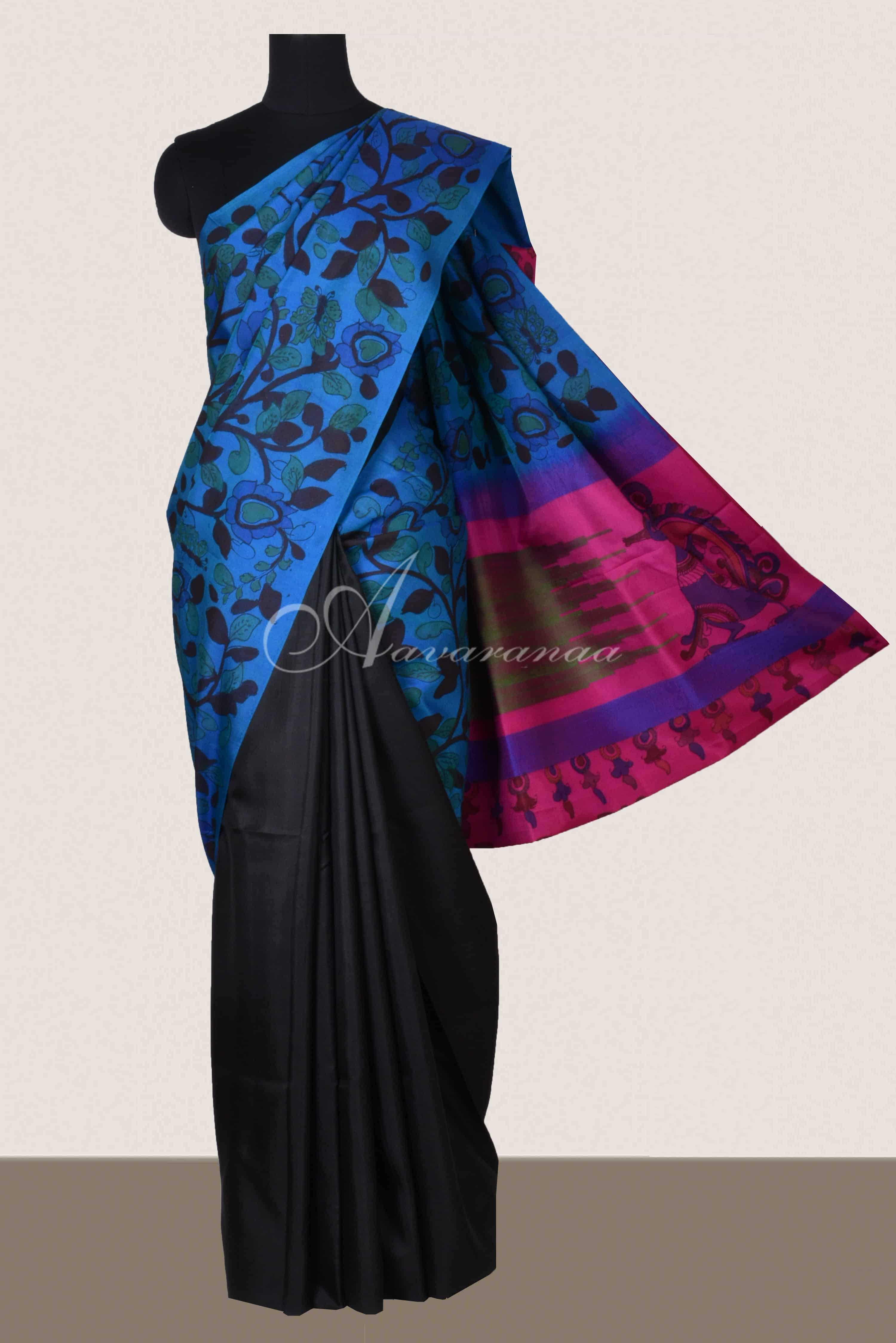 63e33c7a7c Saree Blue pink black soft silk kalamkari saree Sale Online Shopping