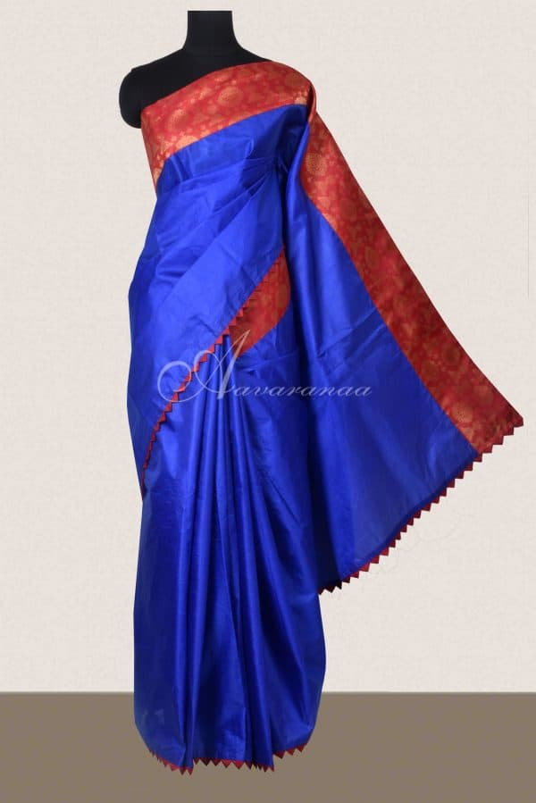 Royal blue organza saree with mustard kanchi kalamkari blouse-0