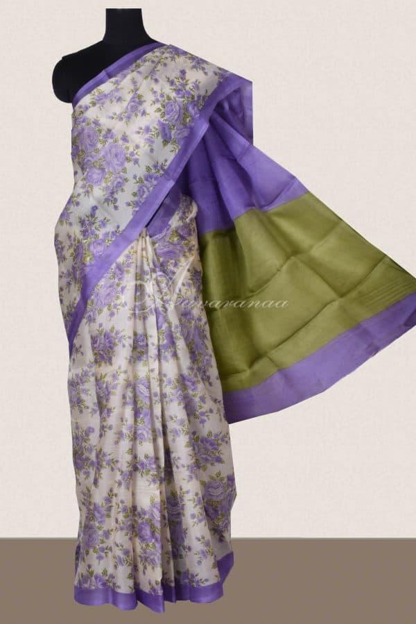 Purple floral block print organza saree-0