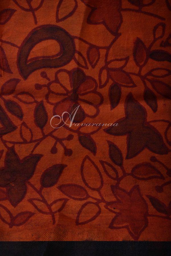 Black rust organza partly pallu-15650