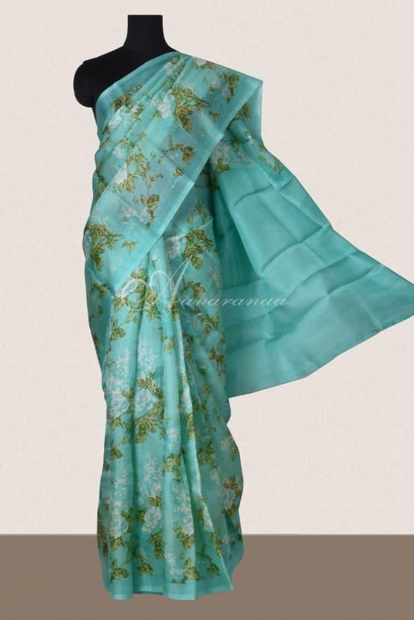 Teal floral block print organza saree-0