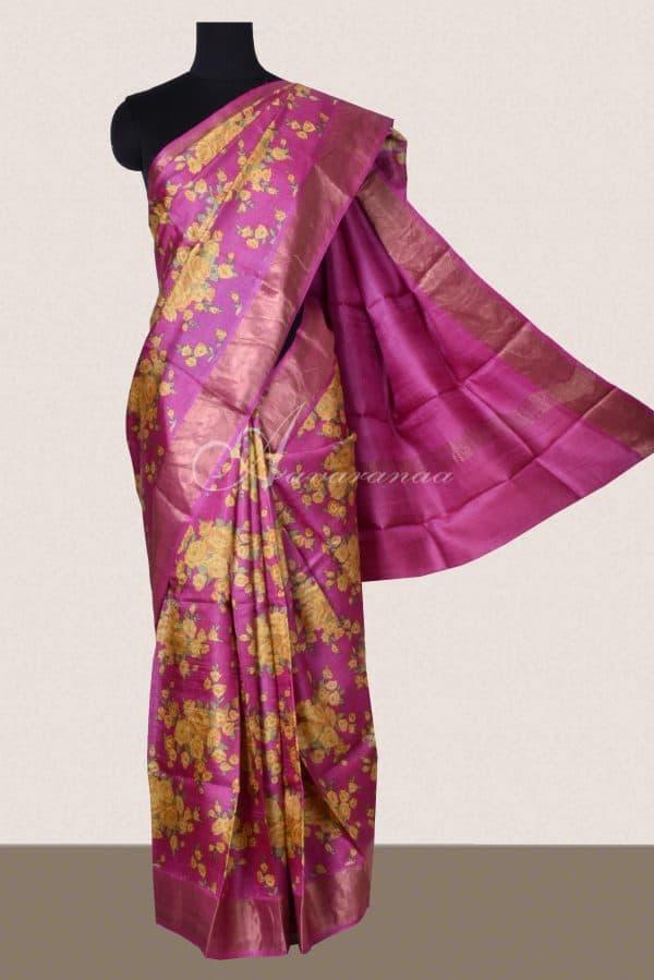 Pink floral tussar saree with zari border-0