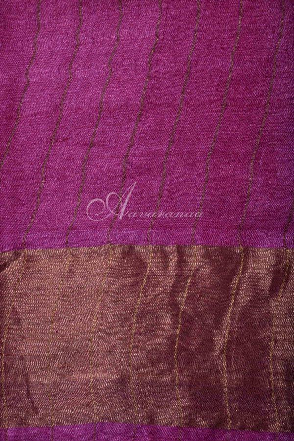 Pink floral tussar saree with zari border-15713