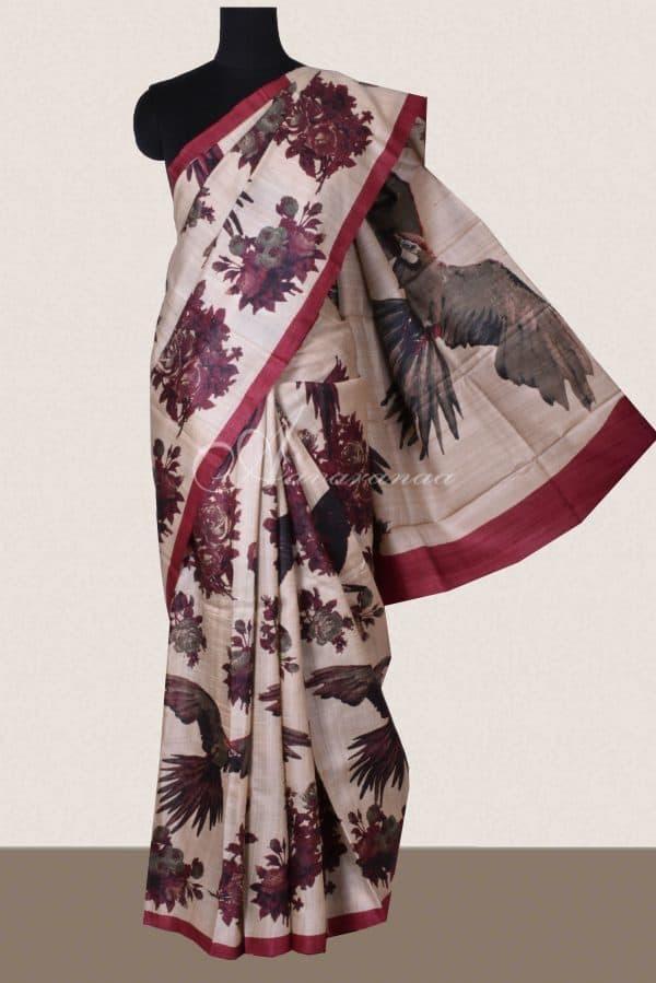 Maroon bird print tussar saree-0