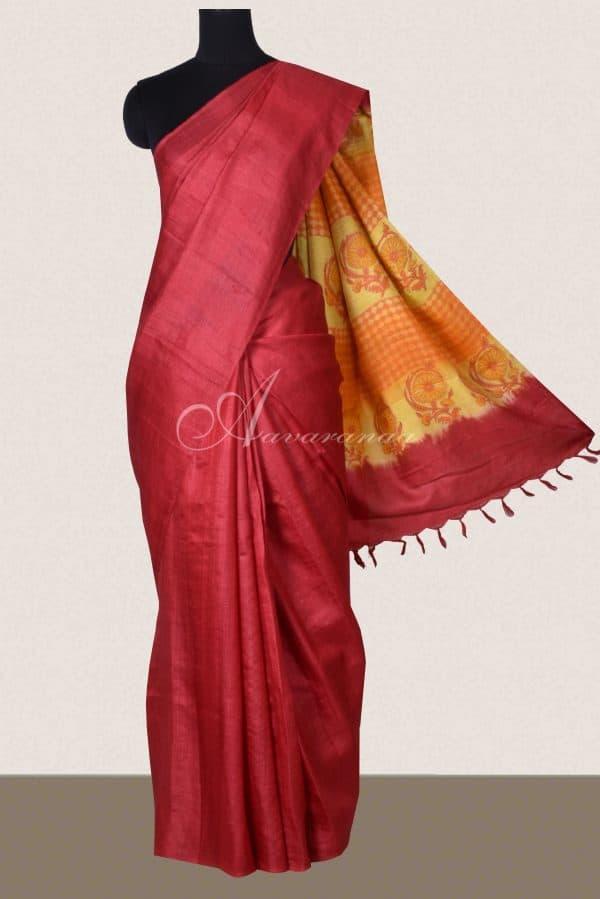 Red plain tussar saree with mustard print pallu-0