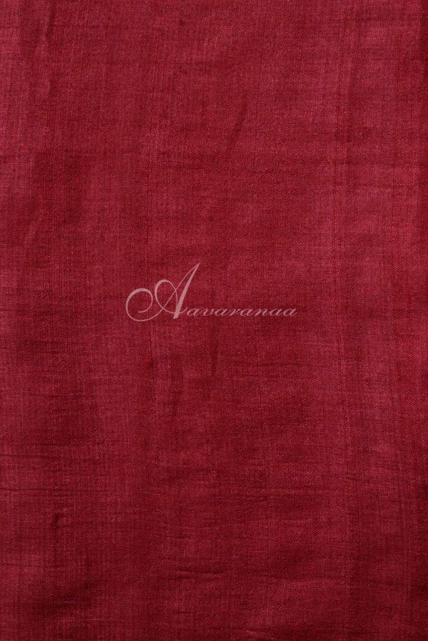 Red plain tussar saree with mustard print pallu-15751