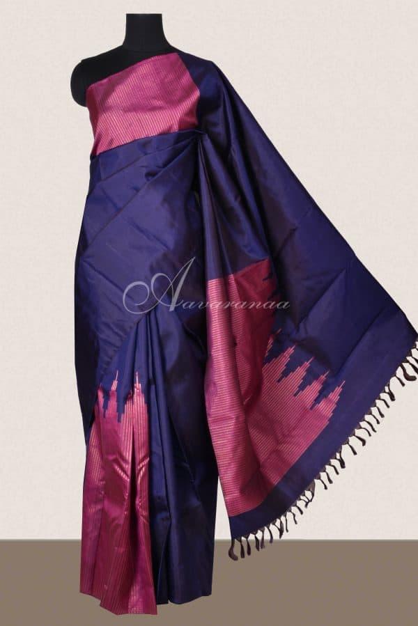Navy blue pink box type zari kanchi silk saree-0