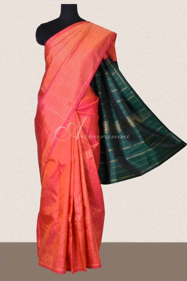 Peach kanchi silk saree with rising zari-0