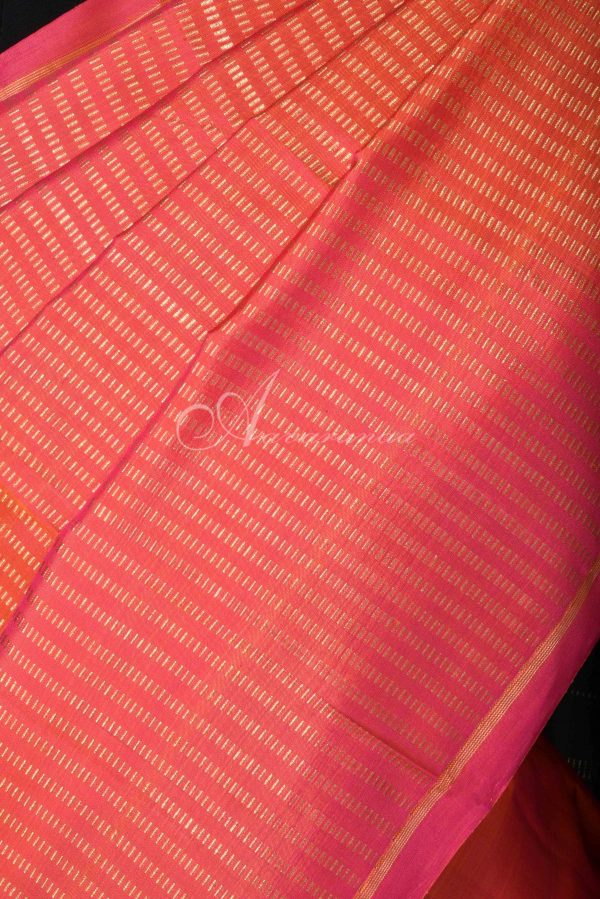 Peach kanchi silk saree with rising zari-15758