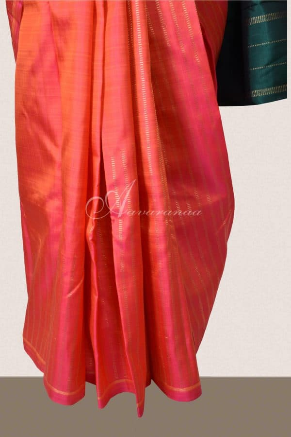 Peach kanchi silk saree with rising zari-15760