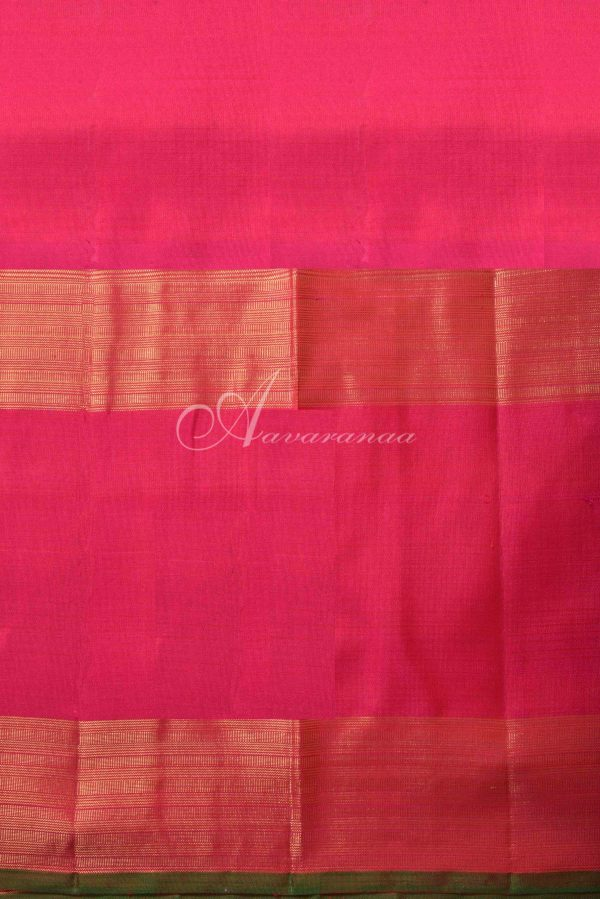 Orange checks kanchi silk saree with pink border-15774