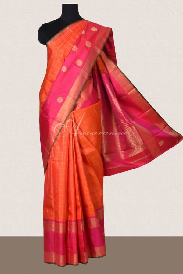 Orange checks kanchi silk saree with pink border-0