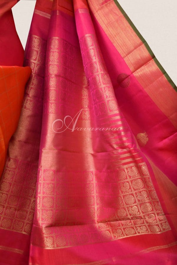 Orange checks kanchi silk saree with pink border-15773