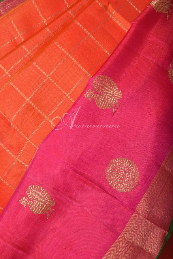 Orange checks kanchi silk saree with pink border-15772