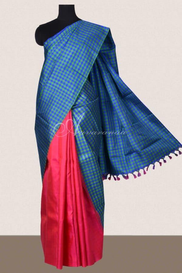 Blue green checks pink kanchi silk half saree-0