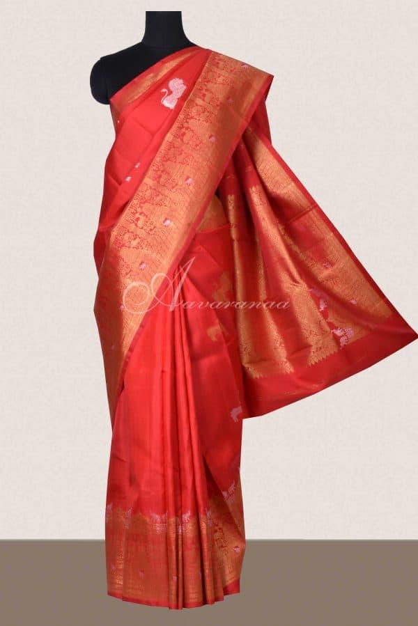 Red kanchi silk saree with yaazhi -0