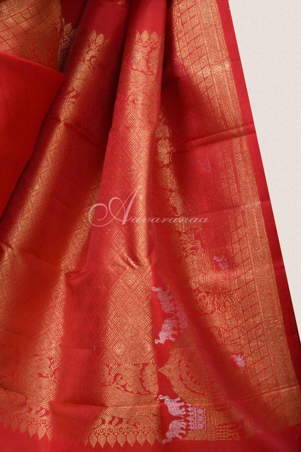 Red kanchi silk saree with yaazhi -15796