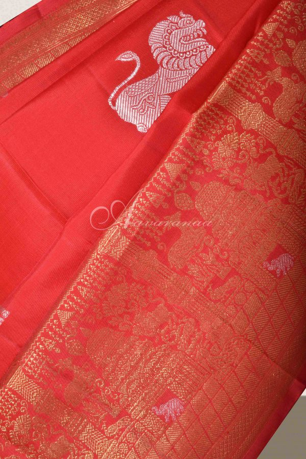 Red kanchi silk saree with yaazhi -15798