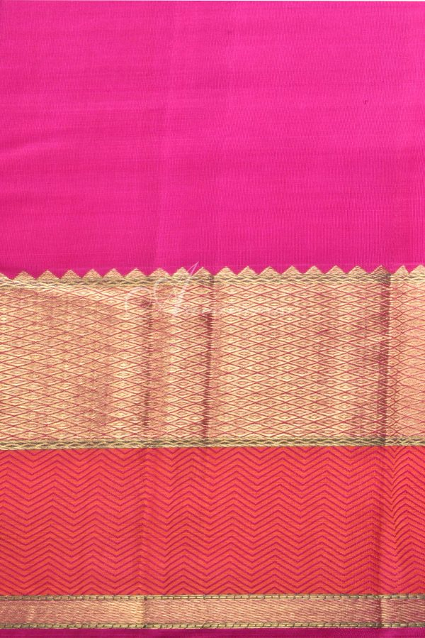 Peach kancheepuram silk saree with thread and zari border-15802