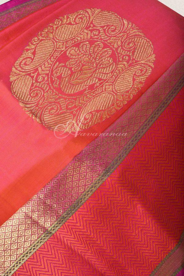 Peach kancheepuram silk saree with thread and zari border-15804
