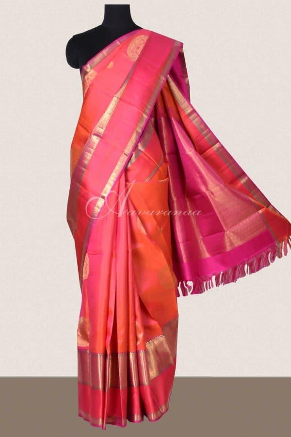 Peach kancheepuram silk saree with thread and zari border-0