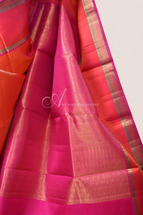 Peach kancheepuram silk saree with thread and zari border-15805