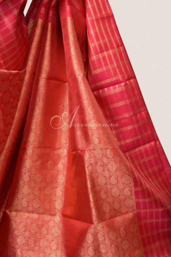 Red brocade kanchi silk saree -15827