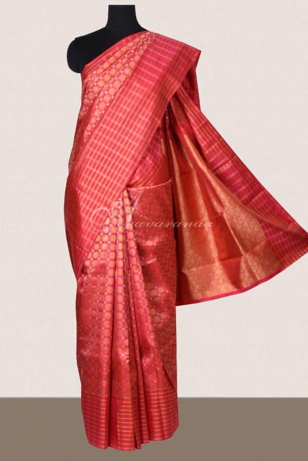 Red brocade kanchi silk saree -0