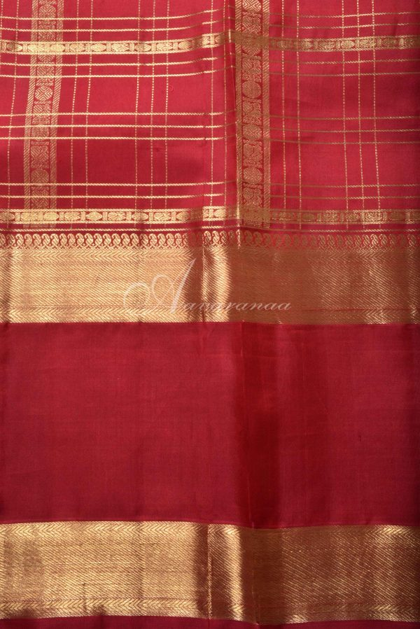 Red checks kanchi silk saree with elephant border-15834