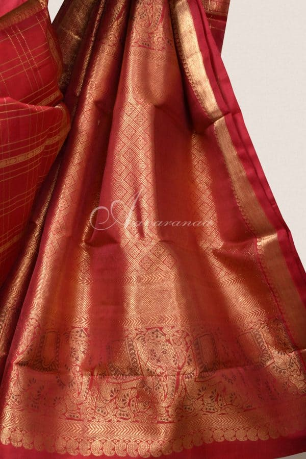 Red checks kanchi silk saree with elephant border-15833