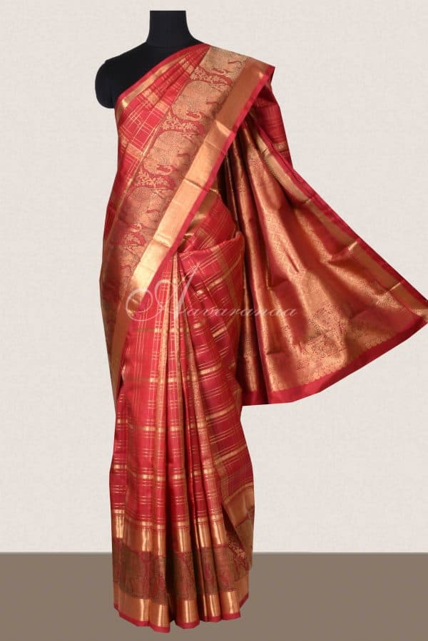 Red checks kanchi silk saree with elephant border-0
