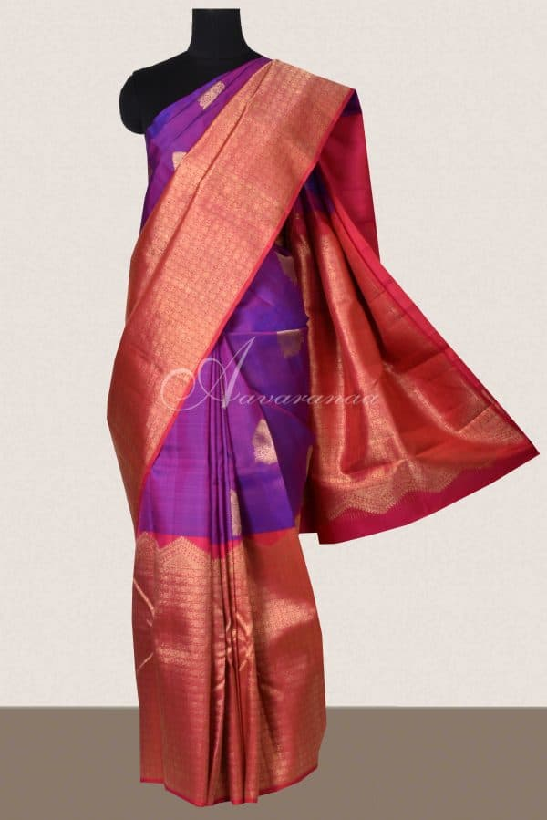 Red and purple half and half kanchi silk saree -0