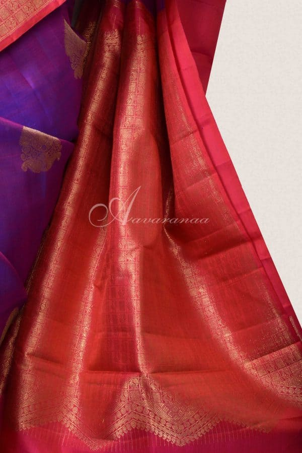 Red and purple half and half kanchi silk saree -15844