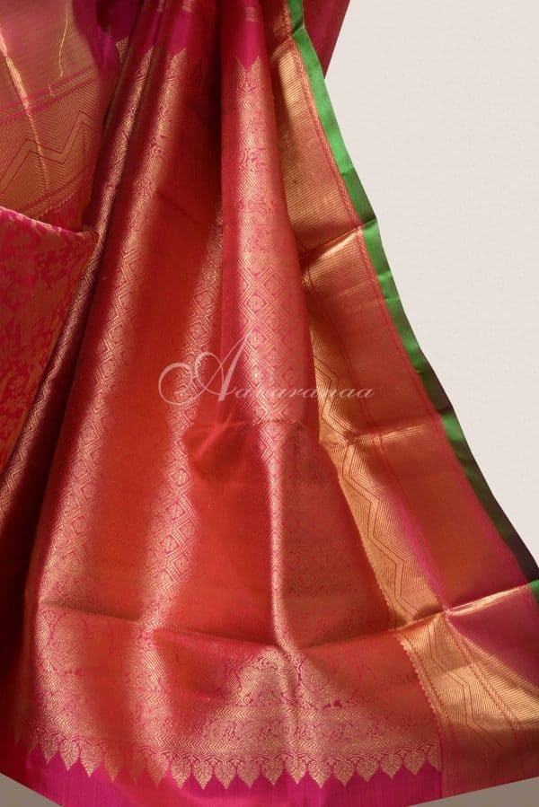 Dark peach vanarasingam kanchi silk saree-15851